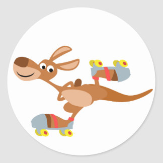 Cute Cartoon Skating Kangaroo Sticker
