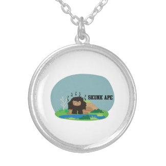 Cute Cartoon Skunk Ape Round Pendant Necklace
