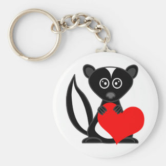 Cute Cartoon Skunk Holding Heart Basic Round Button Key Ring