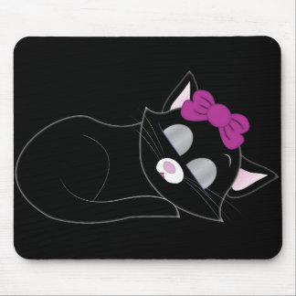 Cute Cartoon Sleepy Kitten Mouse Pad