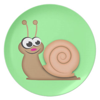 Cute Cartoon Snail Plate