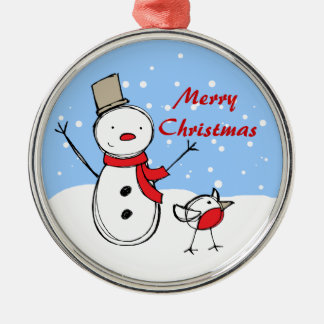 Cute Cartoon Snowman and robin Christmas Ornament