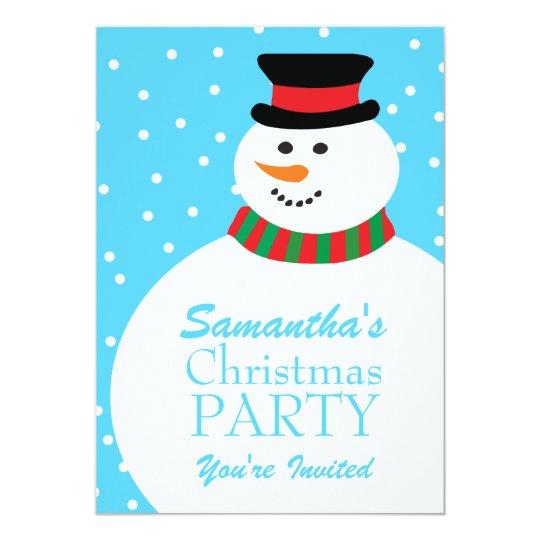 Cute Cartoon Snowman Kids Christmas Party Card