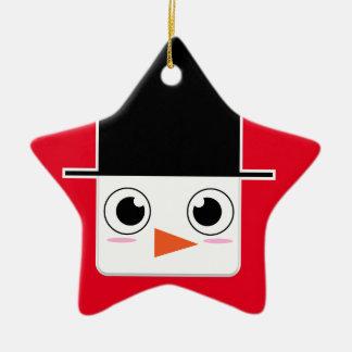 Cute Cartoon Snowman With Black Hat Christmas Ornament