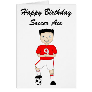 Cute Cartoon Soccer or Football Player in Red Kit Card