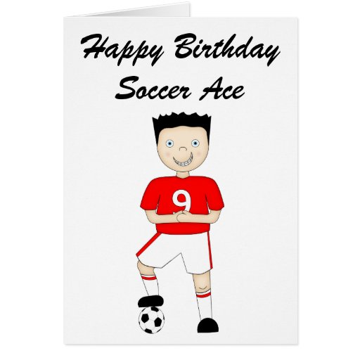 Cute Cartoon Soccer or Football Player in Red Kit Greeting Cards