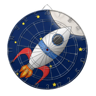 Cute Cartoon Space Rocket Ship Dartboard