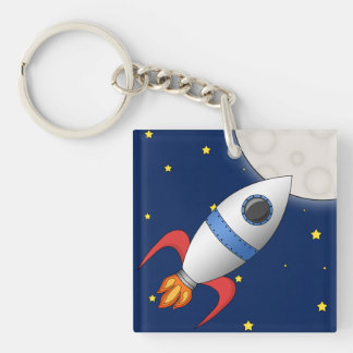 Cute Cartoon Space Rocket Ship Key Ring