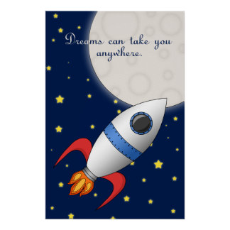 Cute Cartoon Space Rocket Ship Kids Poster