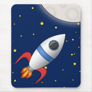 Cute Cartoon Space Rocket Ship Mouse Pad