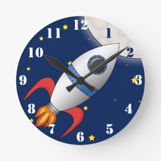 Cute Cartoon Space Rocket Ship Round Clock