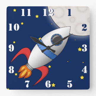 Cute Cartoon Space Rocket Ship Square Wall Clock