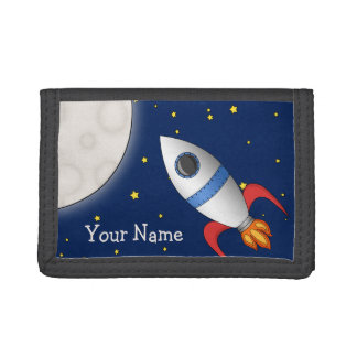 Cute Cartoon Space Rocket Ship Trifold Wallet