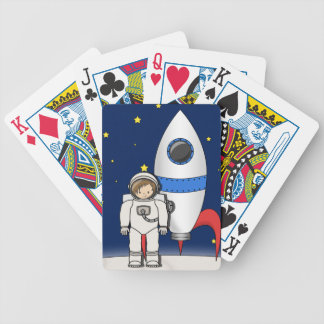 Cute Cartoon Spaceman and Rocket Ship Deck Of Cards