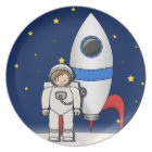 Cute Cartoon Spaceman and Rocket Ship Plate