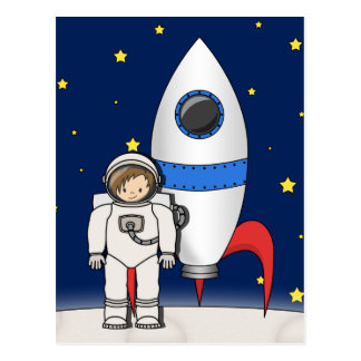 Cute Cartoon Spaceman and Rocket Ship Postcard