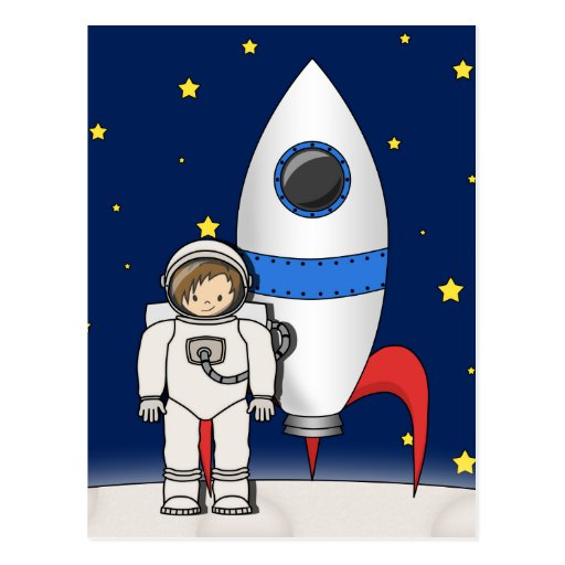 Cute Cartoon Spaceman and Rocket Ship Post Cards