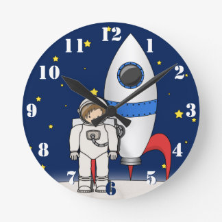 Cute Cartoon Spaceman and Rocket Ship Wallclocks