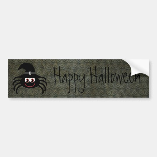Cute Cartoon Spider Vintage Grunge Happy Halloween Bumper Sticker