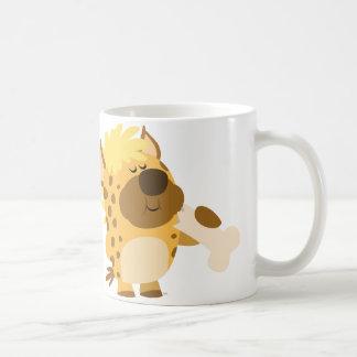 Cute Cartoon Spotted Hyena Crushing a Bone Mug