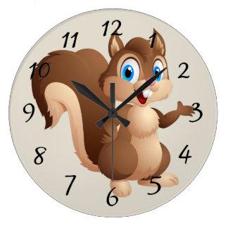 Cute cartoon Squirrel Large Clock