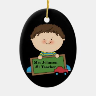 Cute Cartoon Student Holding Chalkboard #1 Teacher Ceramic Oval Decoration