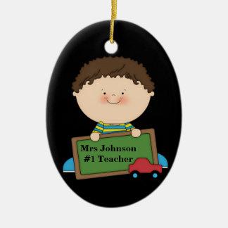 Cute Cartoon Student Holding Chalkboard #1 Teacher Christmas Ornament