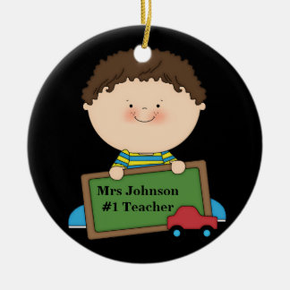 Cute Cartoon Student Holding Chalkboard #1 Teacher Round Ceramic Decoration