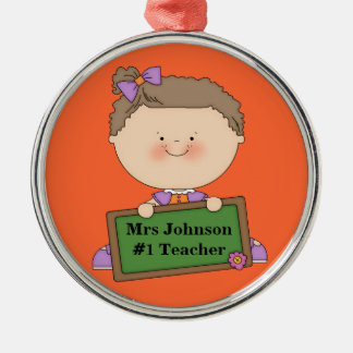 Cute Cartoon Student Holding Chalkboard #1 Teacher Silver-Colored Round Decoration