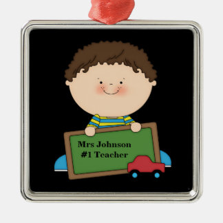 Cute Cartoon Student Holding Chalkboard #1 Teacher Silver-Colored Square Decoration