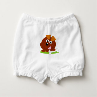 Cute cartoon style brown puppy dog holding a bone, nappy cover