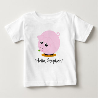 Cute cartoon style illustration of a pink pig, baby T-Shirt