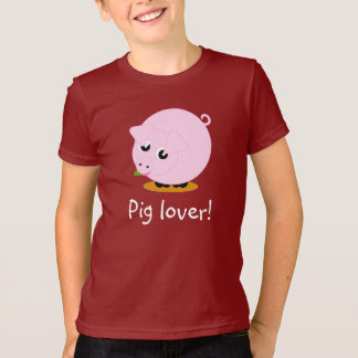 Cute cartoon style illustration of a pink pig, T-Shirt