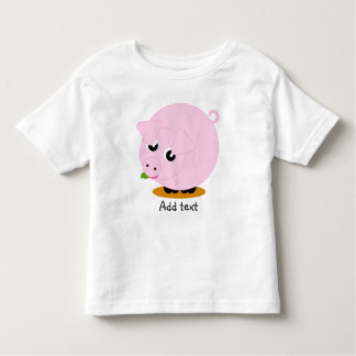 Cute cartoon style illustration of a pink pig, toddler T-Shirt