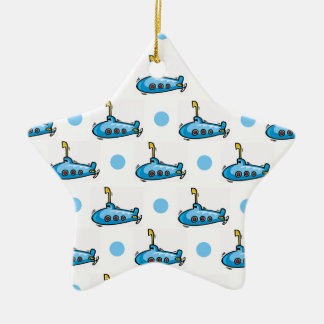 Cute Cartoon Submarine, Baby Blue Polka Dots Christmas Ornament