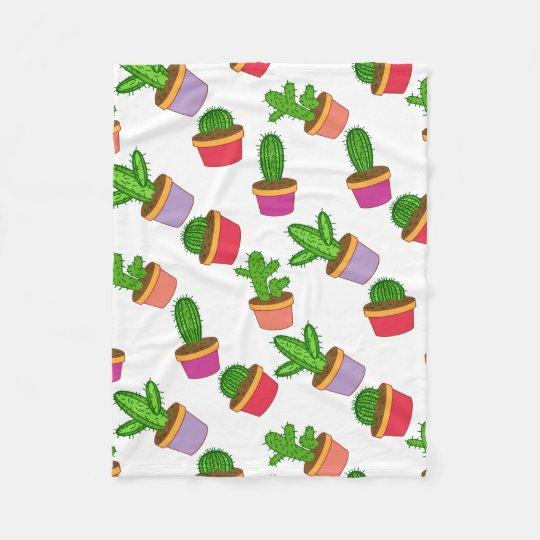 Cute Cartoon Succulent and Cactus Fleece Blanket