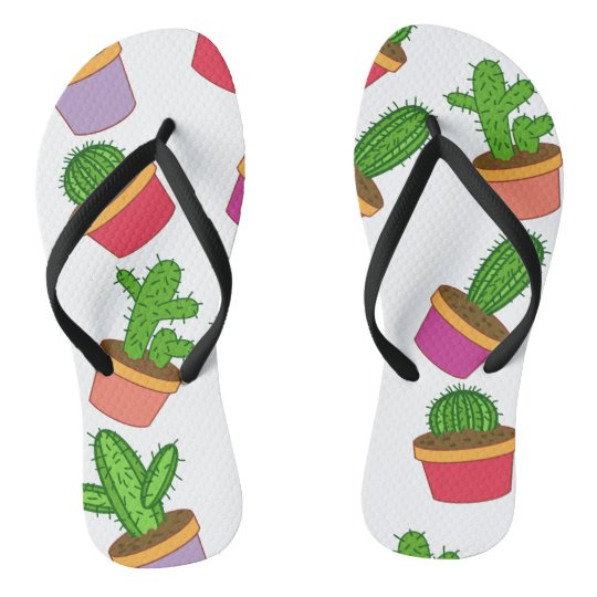 Cute Cartoon Succulent and Cactus Flip Flops