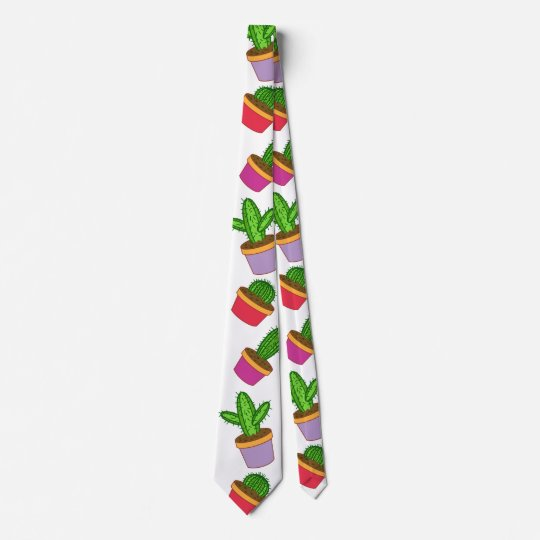 Cute Cartoon Succulent and Cactus Tie