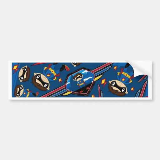 Cute Cartoon Superhero Pattern Bumper Sticker