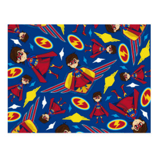 Cute Cartoon Superhero Pattern Postcard