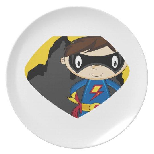 Cute Cartoon Superhero Plate
