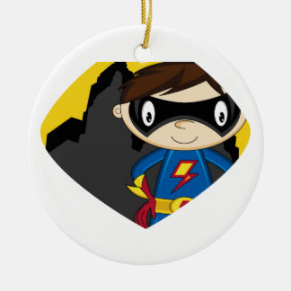 Cute Cartoon Superhero Round Ceramic Decoration