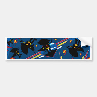 Cute Cartoon Superhero Silhouette Pattern Bumper Sticker