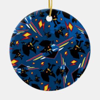 Cute Cartoon Superhero Silhouette Pattern Christmas Ornament