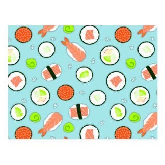 Cute Cartoon Sushi Pattern Blue Postcard