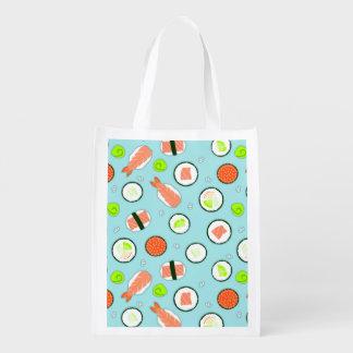 Cute Cartoon Sushi Pattern Blue Grocery Bag