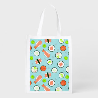 Cute Cartoon Sushi Pattern Blue Reusable Grocery Bag