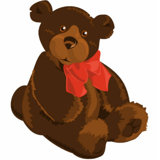 Cute cartoon teddy bear standing photo sculpture