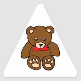 Cute Cartoon Teddy Bear Wearing Red Bow Tie Triangle Sticker