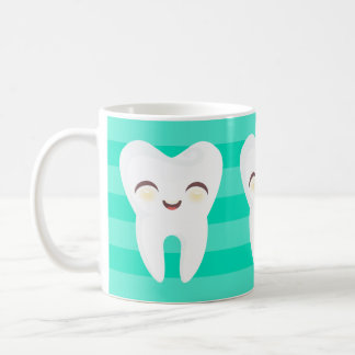 Cute Cartoon Teeth - Teal Stripes Mug